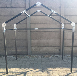Small Steel Tube Shelter With Peak Roof.